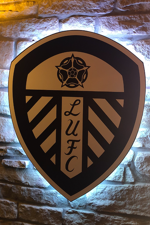 Special Edition Black & White Leeds United Wooden Wall Light