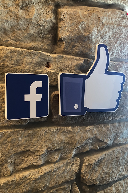 "Handmade Wooden Facebook Logo with Giant ""Thumbs Up"""