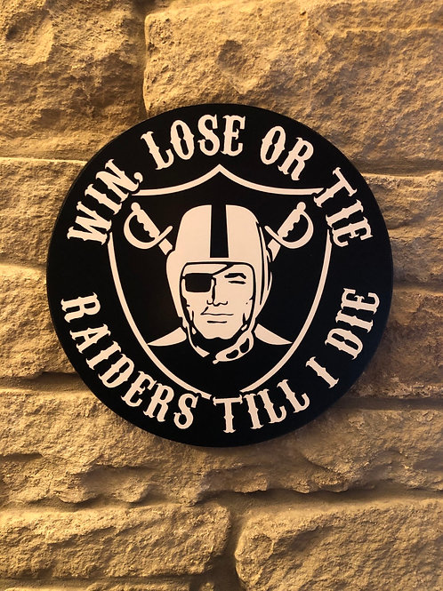 "imake NFL Raiders ""Till I die"" Wooden Wall Badge"
