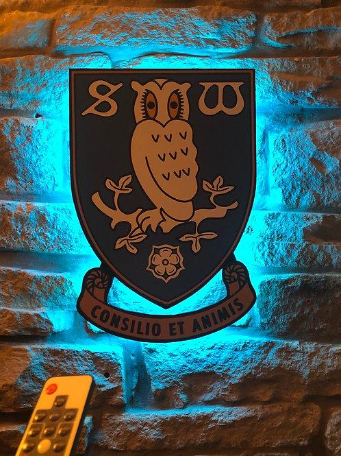 Handmade Wooden Sheffield Wednesday Wall Light