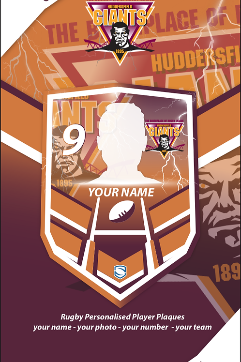 idesign Huddersfield Giants Personalised Player Plaque
