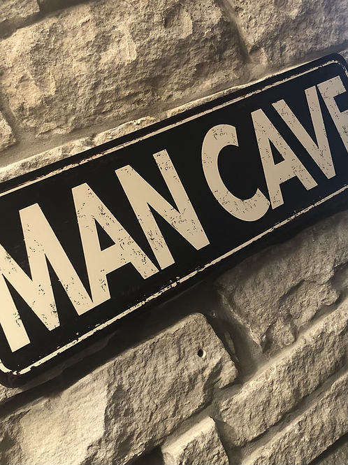 MAN CAVE Wooden Wall Badge!