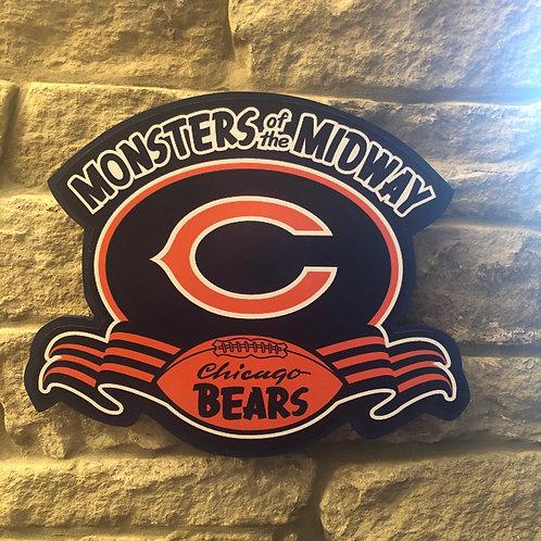 """imake handmade wooden Retro """"Monster"""" Bears Badge"""