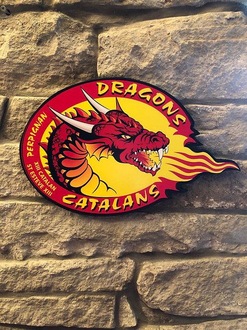 imake handmade wooden Catalan Dragons RL Badge