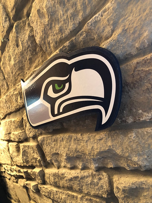 imake NFL Large SeaHawk head Wooden Wall Badge