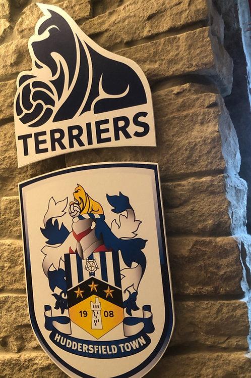handmade wooden Huddersfield Town ultimate Wall Badge Set
