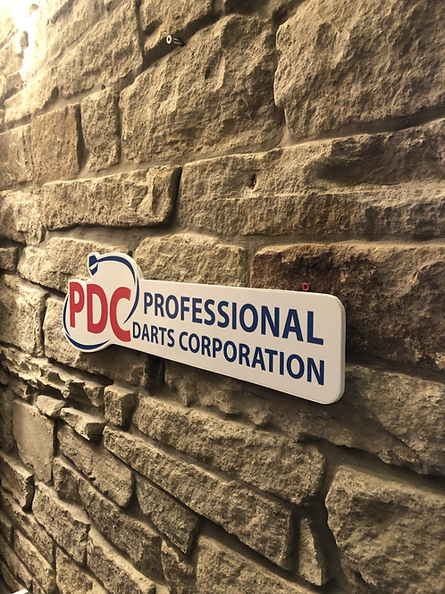 PDC Professional Darts Corporation Wooden Wall Sign
