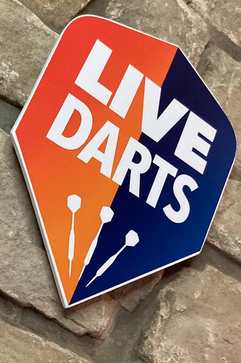 "Wooden Dart Flight ""LIVE DARTS"" Wall Shield."