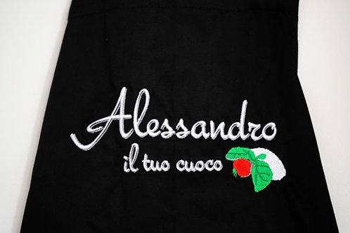 """Kochschürze aus Baumwolle mit """"Alessandro il tuo cuoco"""" - Stickerei"""