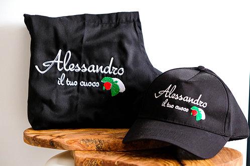 """Kochkleidung Set mit """"Alessandro il tuo cuoco"""" - Stickerei"""