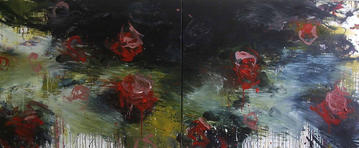 Blooms, 2008, Oil on canvas, 100 x 240cm (diptych)