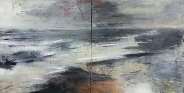Moonlight Sonata, 2018, Oil on canvas, 122 x 244cm (diptych)