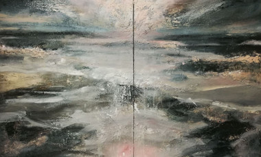 It cracked the sky's black heart, 2017-2018, Oil on canvas, 152 x 244cm (diptych)