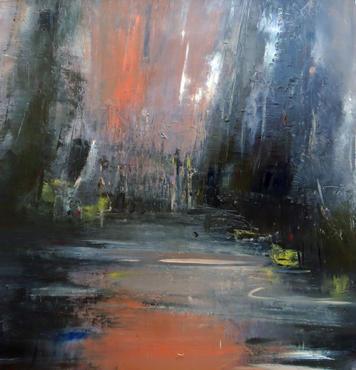 Daylight Bid Goodbye, 2020, Oil on canvas, 100 x 100cm