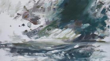 Storm Study I, 2020, Oil on wooden panel, 18 x 32cm