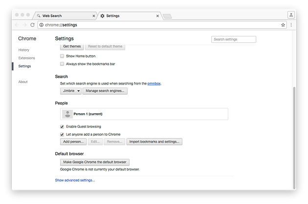 open chrome preference