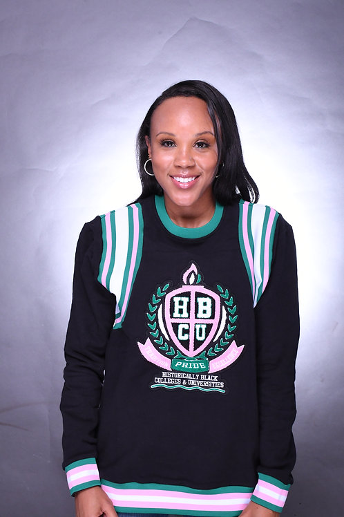 Pink and Green HBCU Varsity Sweater