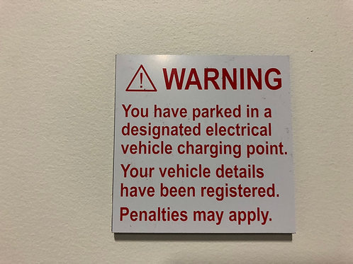 EV Parking Warning Sticker
