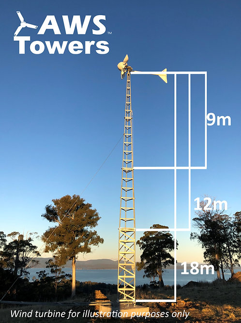 AWS Towers - 12m tower, footing and lift pole