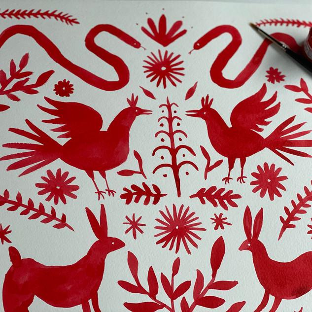 Ink Otomi Animal Pattern
