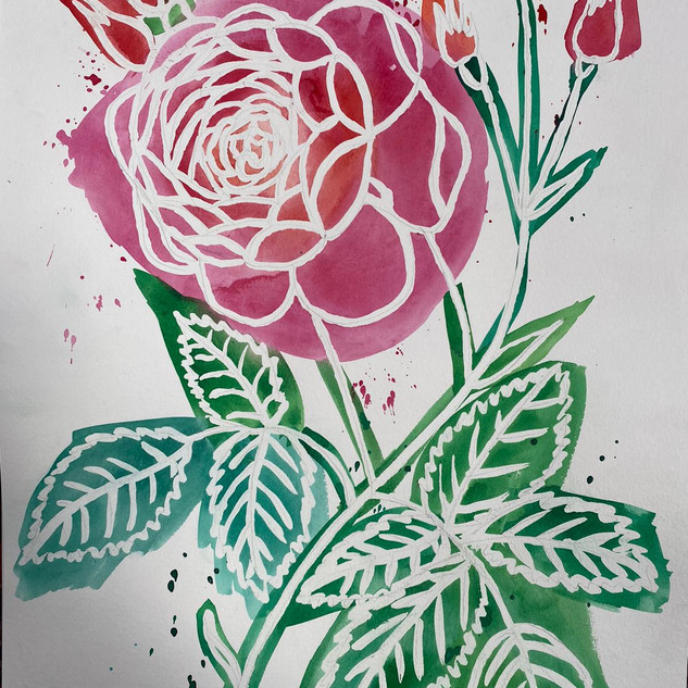 Watercolour Rose with Masking Fluid