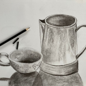 Charcoal Cylindrical Objects in Still Life