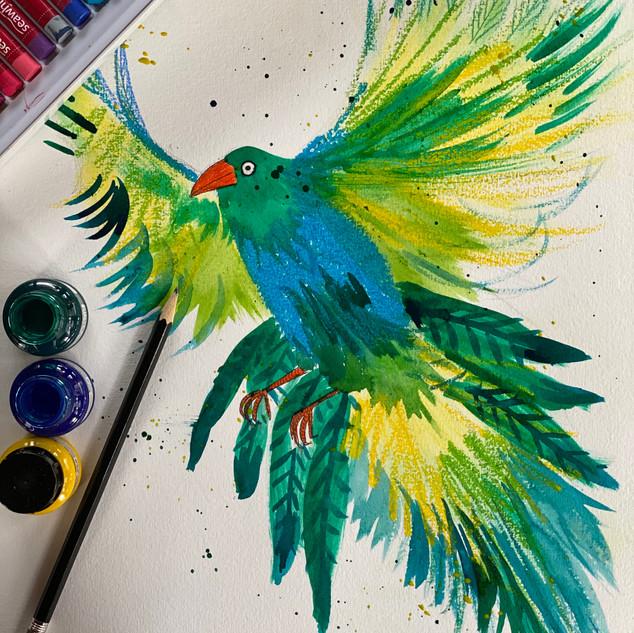 Mixed Media Bird of Paradise