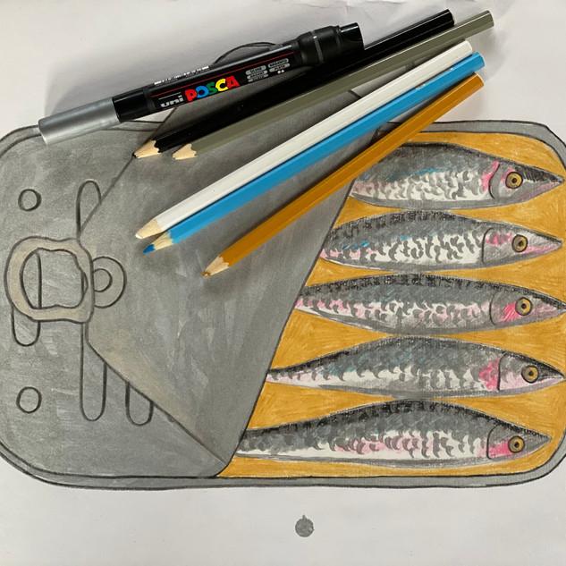 Sardines in Pencil and Metallic Paint Pen