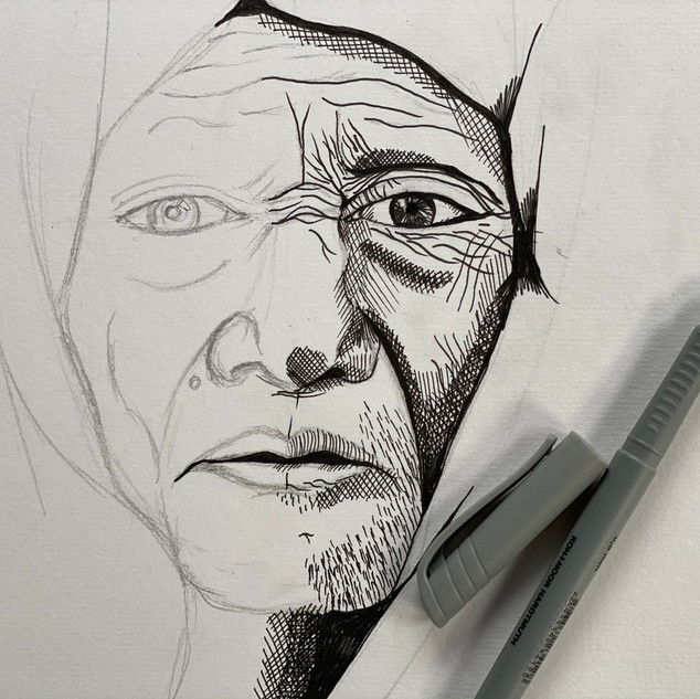 Mark Making Pen Portrait