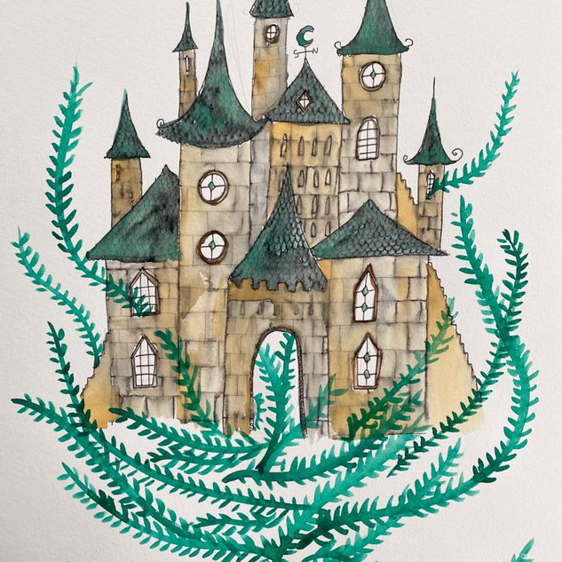 Fairytale Castle with Watercolour and Fine-Liner Pen