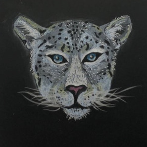 Oil Pastel and Metallic Paint Pen Snow Leopard