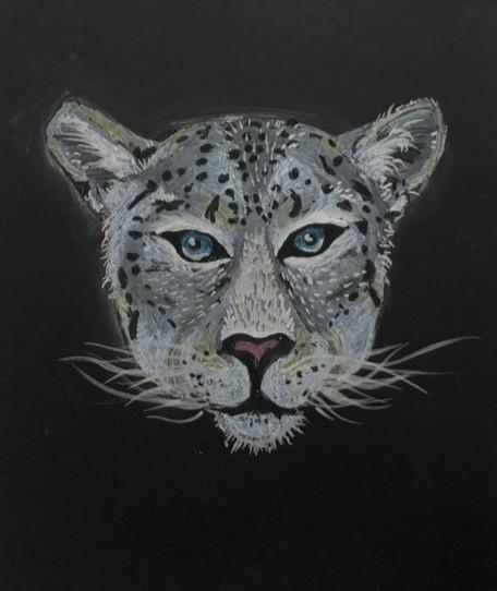 Oil Pastel and Metallic Paint Pen Snow Leopard