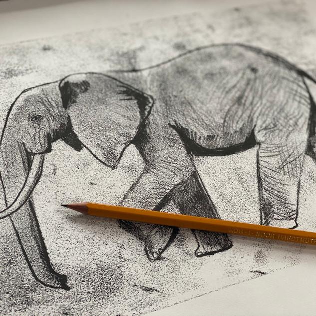 Monoprint Elephant
