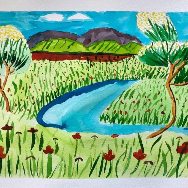 Spring Landscape in Watercolour