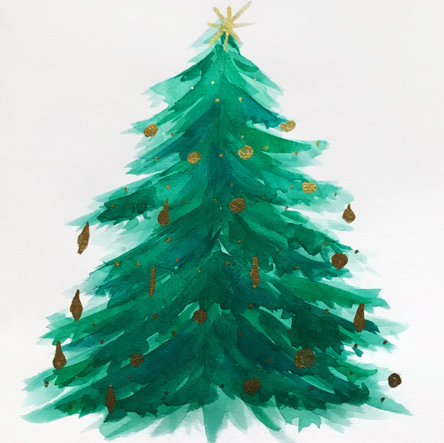 Christmas Tree in Watercolour and Metallic Paint Pen