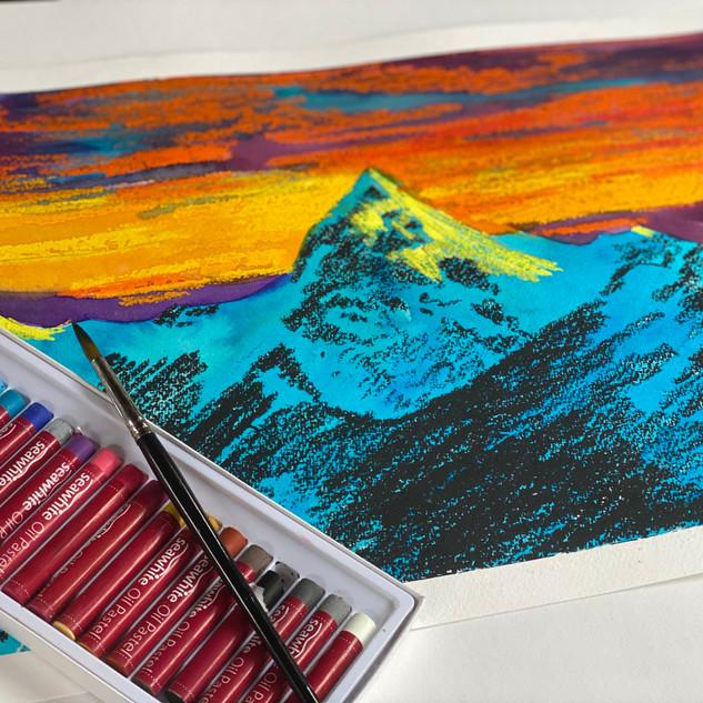 Oil Pastel and Watercolour Mountain