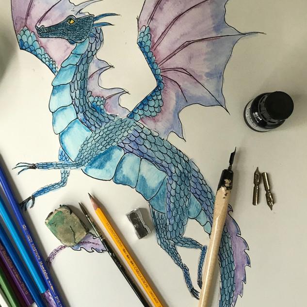 Dragon in Watercolour Pencil and Dip Pen