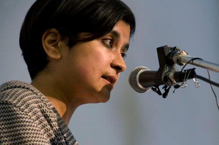 Shami Chakrabarti, director of Liberty speaking at a public meeting against Birmingham 'Anti Muslim' CCTV and ANPR Cameras.