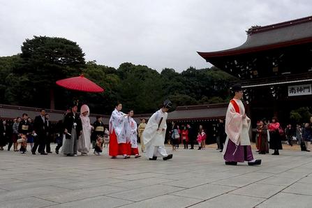 Wedding procession, Meiji Shrine, Shibuya, Tokyo, Japan.