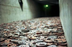 Jewish Museum, Shalechet (Fallen Leaves), Art in the Memory Void by Menashe Kadishman, Berlin, Germany.