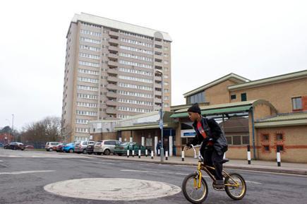A boy on a bicycle in Ladywood, Birmingham.