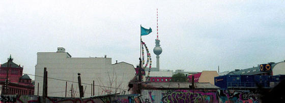 Alex, prayerflags, UN banner, Berlin, Germany.