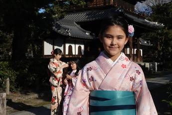 Saskia in a traditional Japanese kimono, Kyoto, Japan.