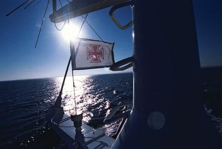 The Hanse Cross is the Banner of the German Sea Rescue Service - DGzRS, and has been used since 1865.