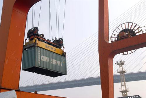 China Shipping Terminal in Pudong, Shanghai, China.