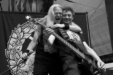 Karl Willetts and Frank Healy during Memoriam's first ever concert. Obscene Extreme Festival, Trutnov, Czech Republic.
