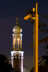 Birmingham Central Mosque with a surveillance camera monitoring cars entering and leaving an area with a high Muslim population. Highgate, Birmingham.