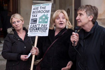 Women from Ladywood effected by the bedroom tax addressing protesters outside the Birmingham Council House.