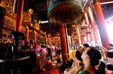 Devotion and prayer, Jade Buddha Temple, Shanghai, China.