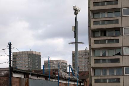 CCTV and high risen council housing, Maypole, Birmingham.